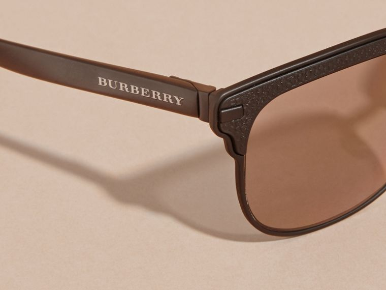 Textured Front Square Frame Sunglasses in Black - Men | Burberry Australia - cell image 1