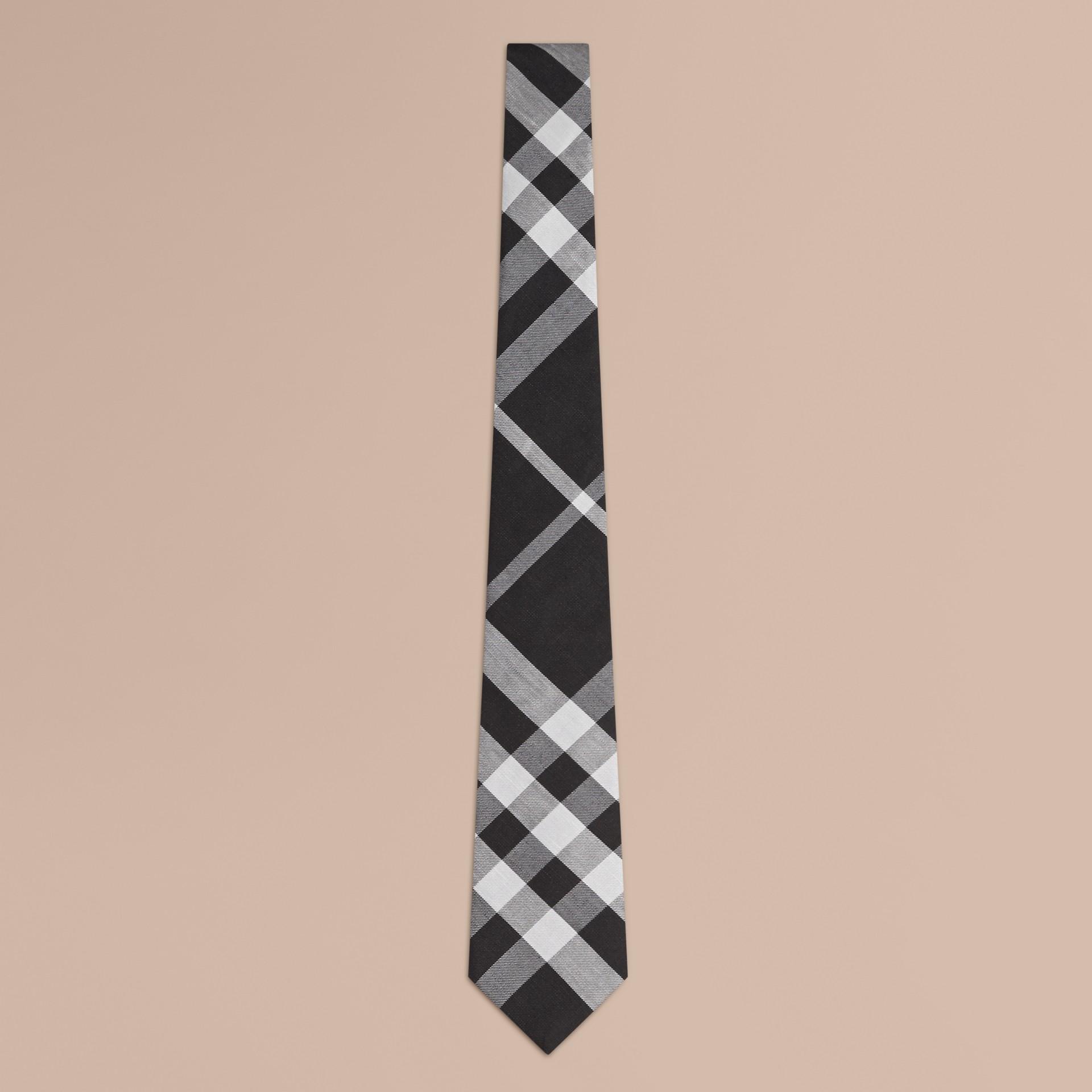 Negro Corbata de pala moderna en seda y lino con checks en jacquard - imagen de la galería 1