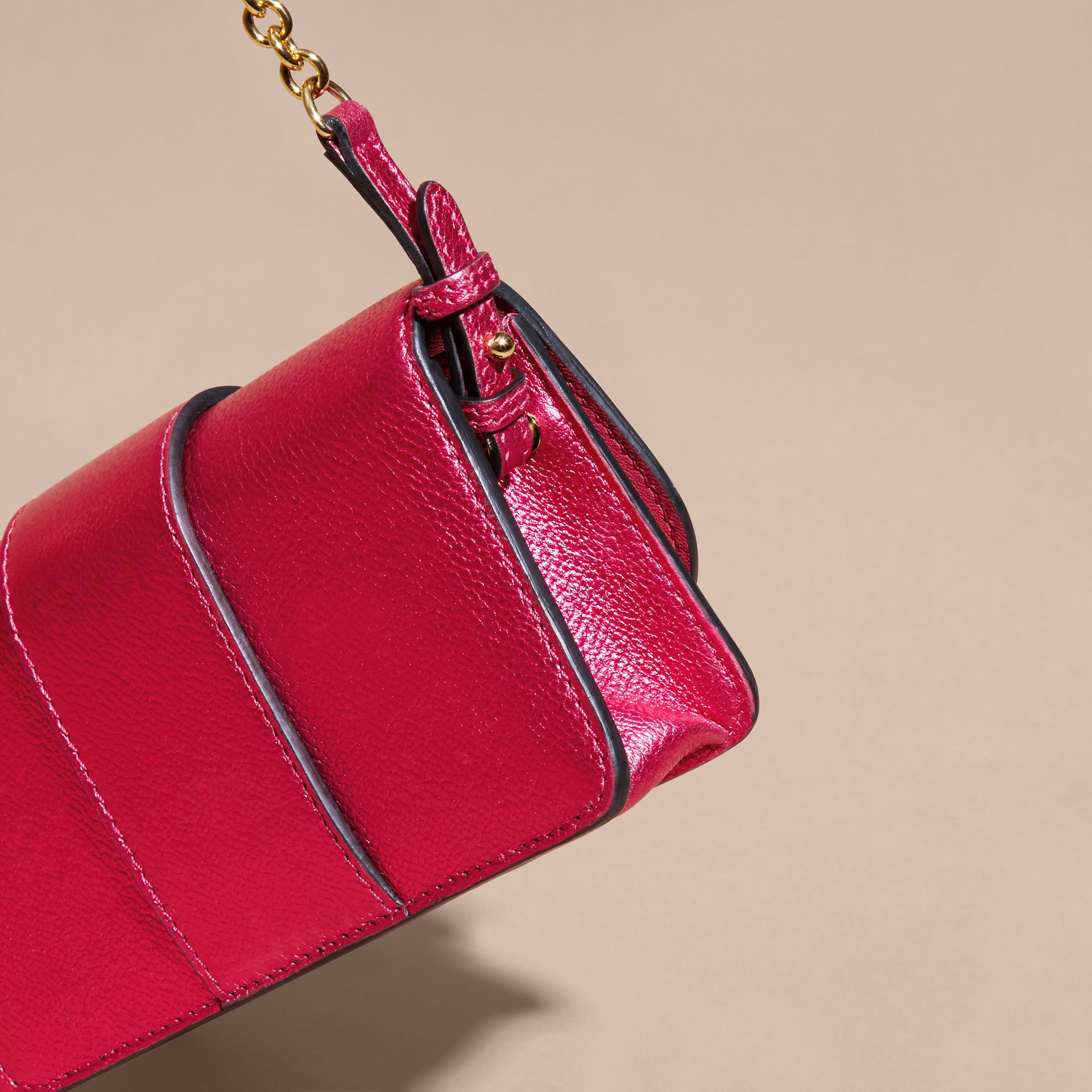 The Mini Buckle Bag in Metallic Grainy Leather in Bright Pink - gallery image 8