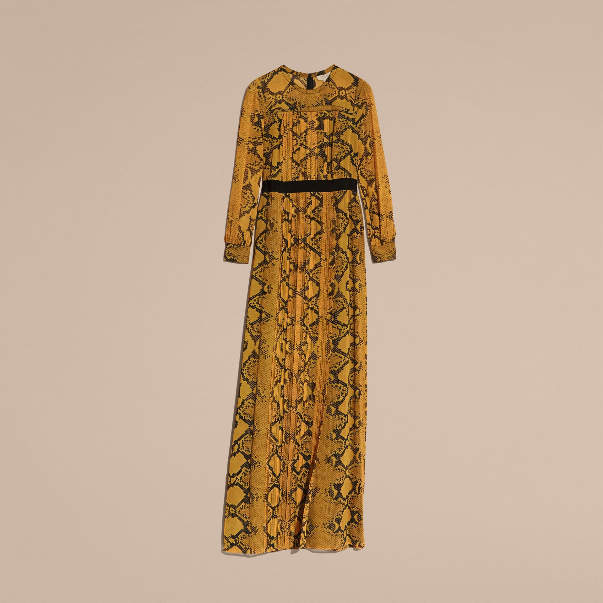 Amber yellow Floor-length Pleat Detail Python Print Silk Dress Amber Yellow - gallery image 4