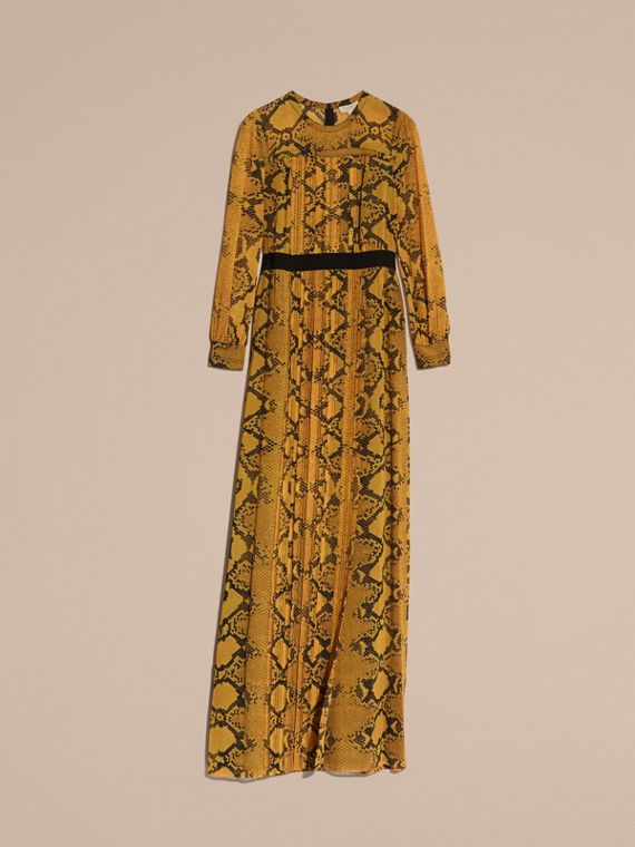Amber yellow Floor-length Pleat Detail Python Print Silk Dress Amber Yellow - cell image 3