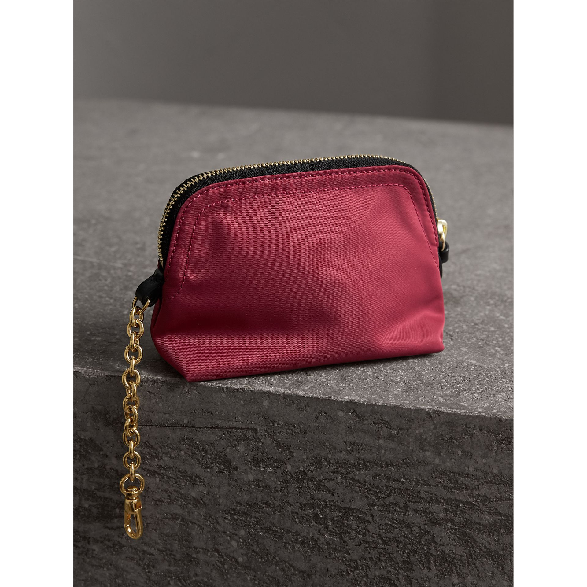 Small Zip-top Technical Nylon Pouch in Plum Pink - Women | Burberry - gallery image 3