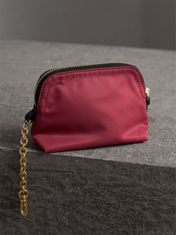 Small Zip-top Technical Nylon Pouch in Plum Pink - Women | Burberry - cell image 2