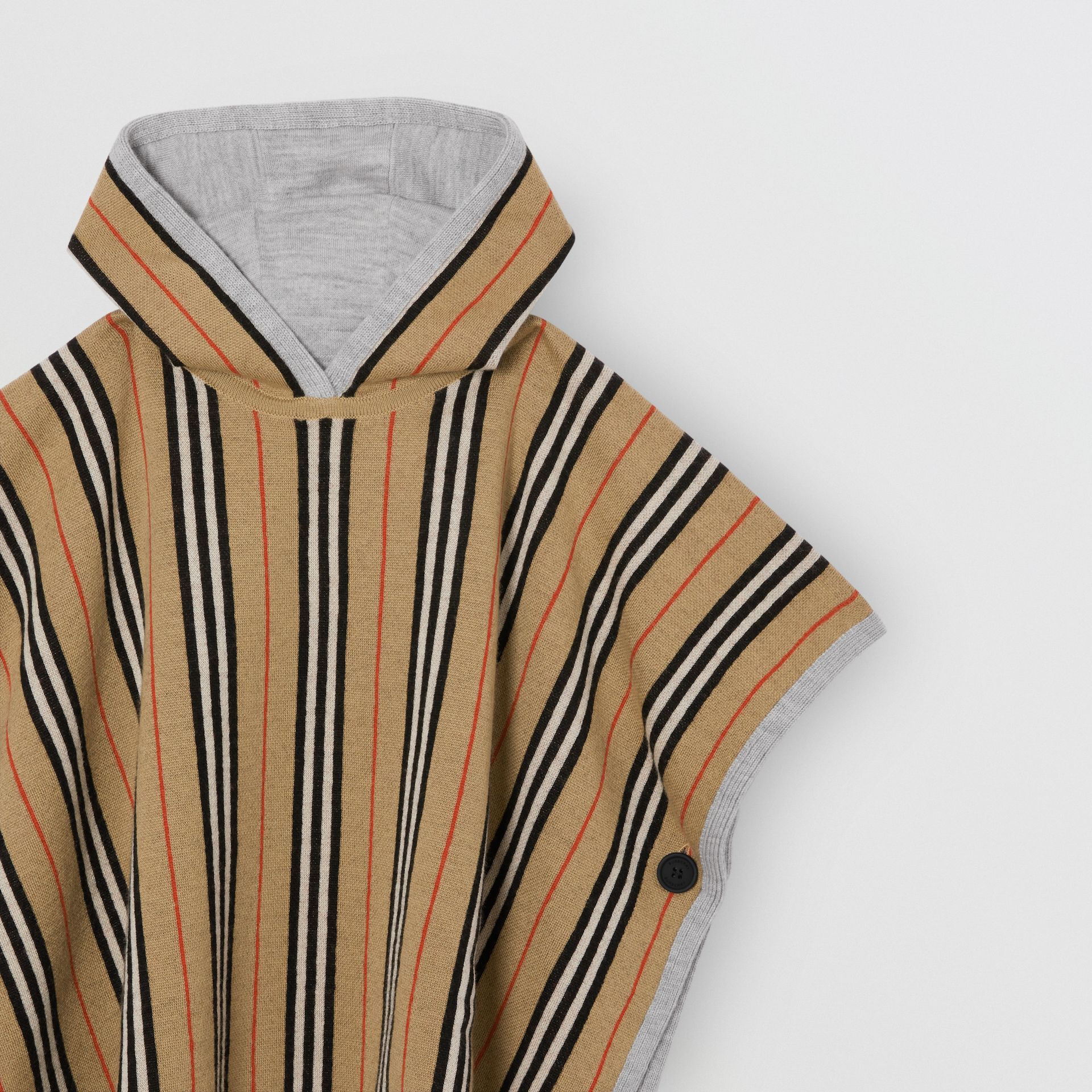 Reversible Icon Stripe Merino Wool Hooded Poncho in Archive Beige - Girl | Burberry - gallery image 5