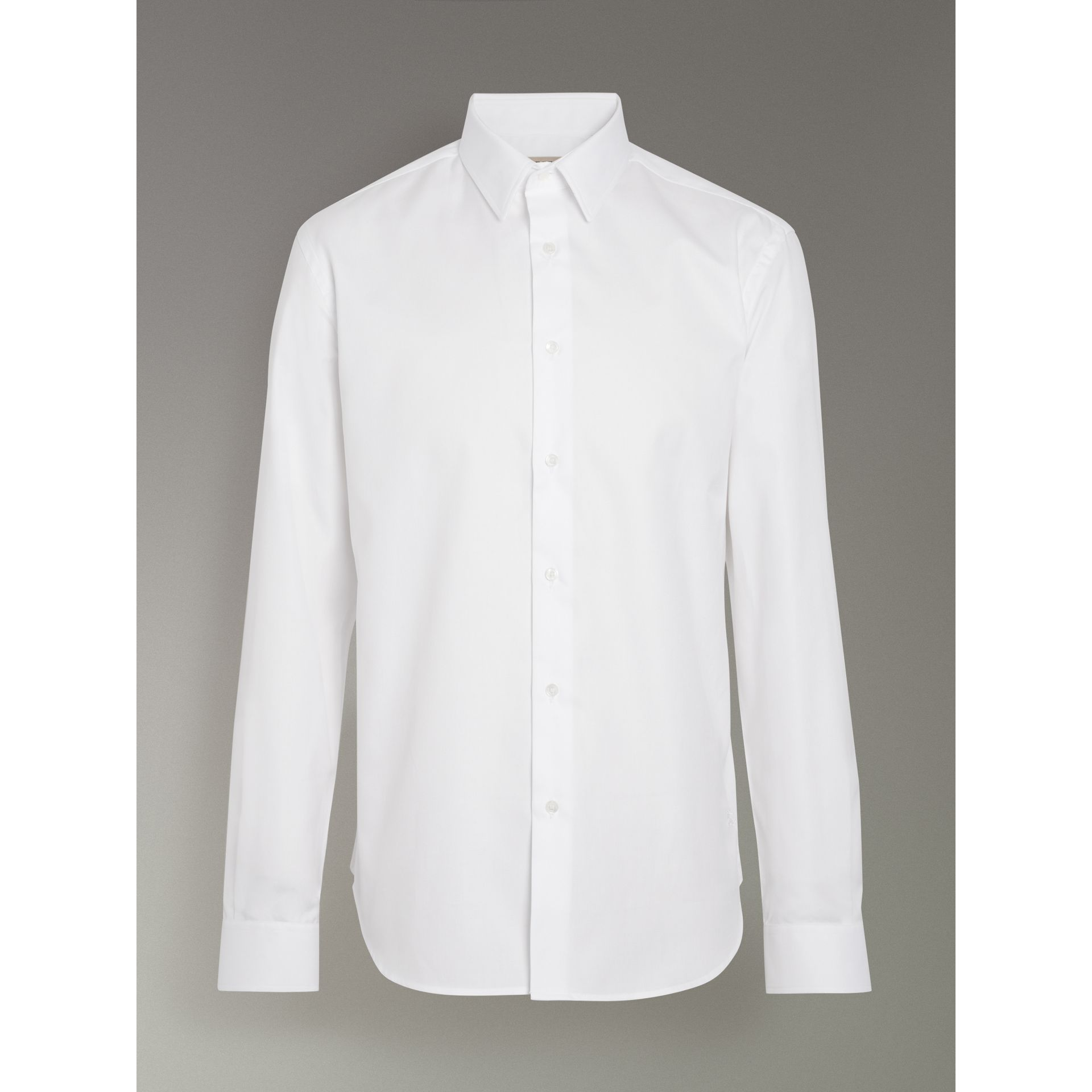 Modern Fit Cotton Shirt in White - Men | Burberry Canada - gallery image 3