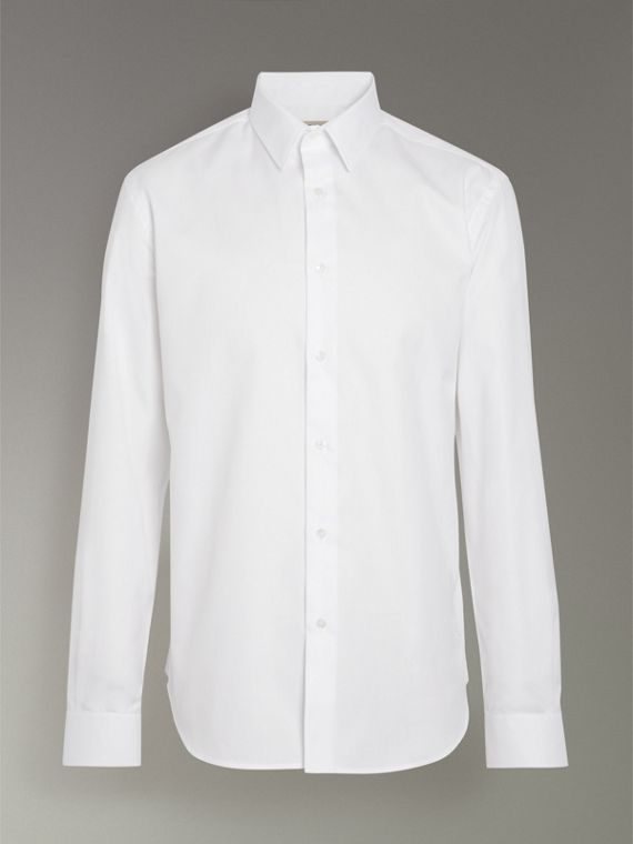 Modern Fit Cotton Shirt in White - Men | Burberry Canada - cell image 3