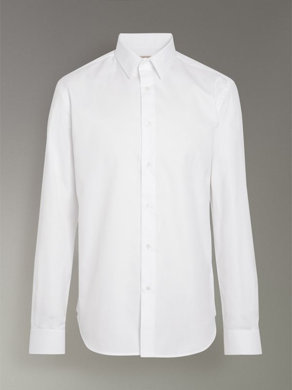 Modern Fit Cotton Shirt in White - Men | Burberry United Kingdom - cell image 3