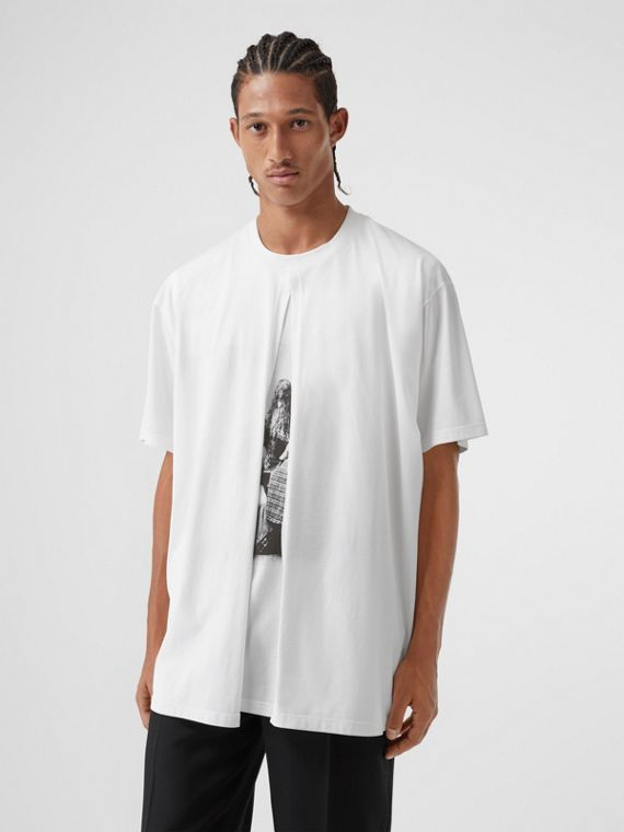 Victorian Portrait Print Cotton Oversized T-shirt in Optic White