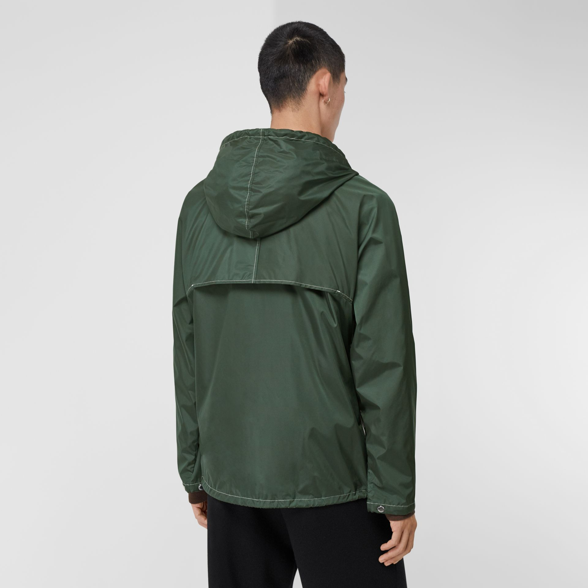 Logo Graphic Packaway Lightweight Hooded Jacket in Dark Pine Green - Men | Burberry - gallery image 2