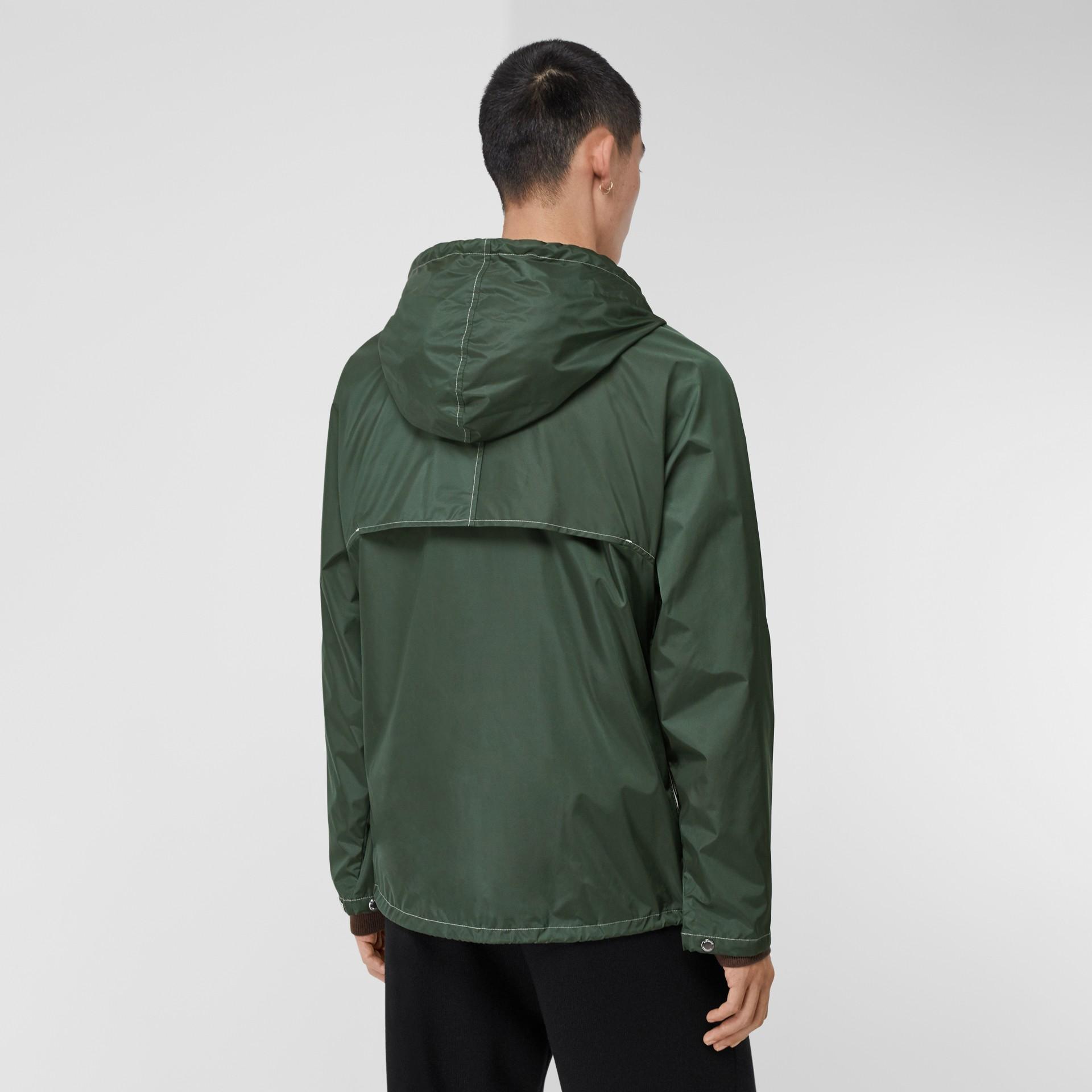 Logo Graphic Packaway Lightweight Hooded Jacket in Dark Pine Green - Men | Burberry Canada - gallery image 2