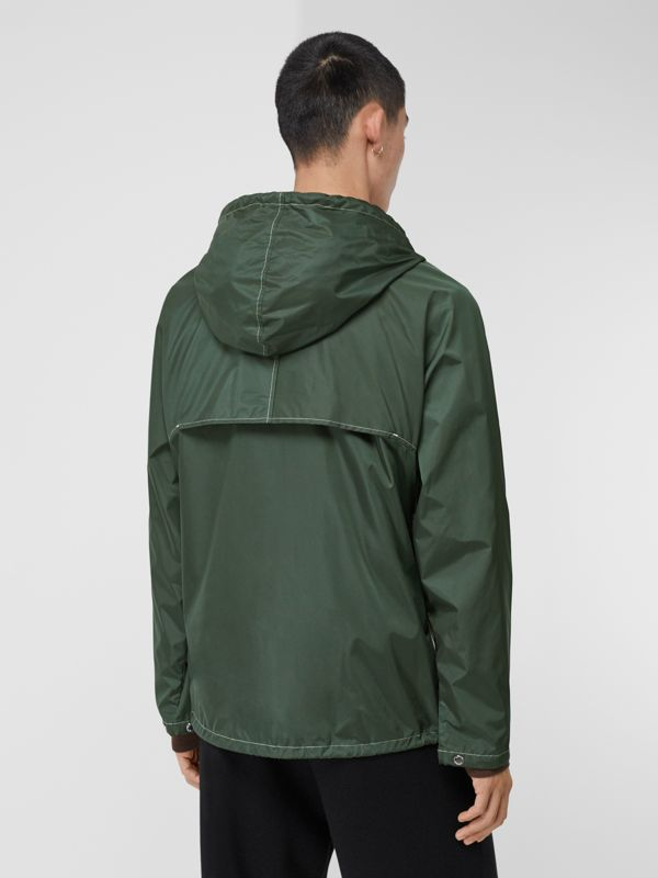 Logo Graphic Packaway Lightweight Hooded Jacket in Dark Pine Green - Men | Burberry - cell image 2