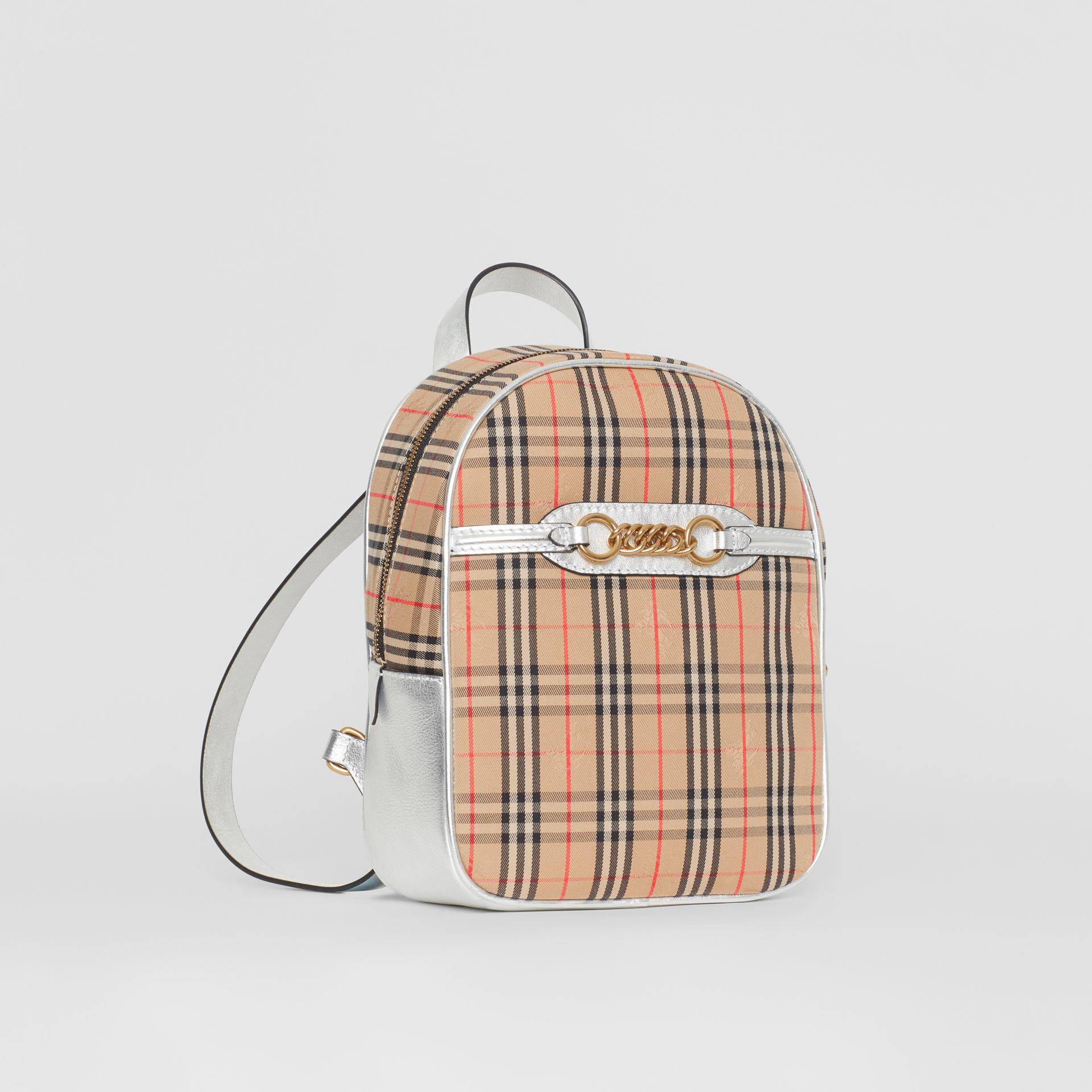 The 1983 Check Link Backpack in Silver - Women | Burberry United States - gallery image 4