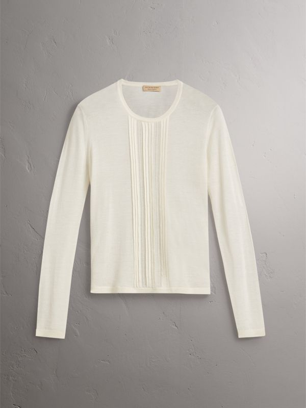 Pintuck Detail Cashmere Sweater in Natural White - Women | Burberry - cell image 3