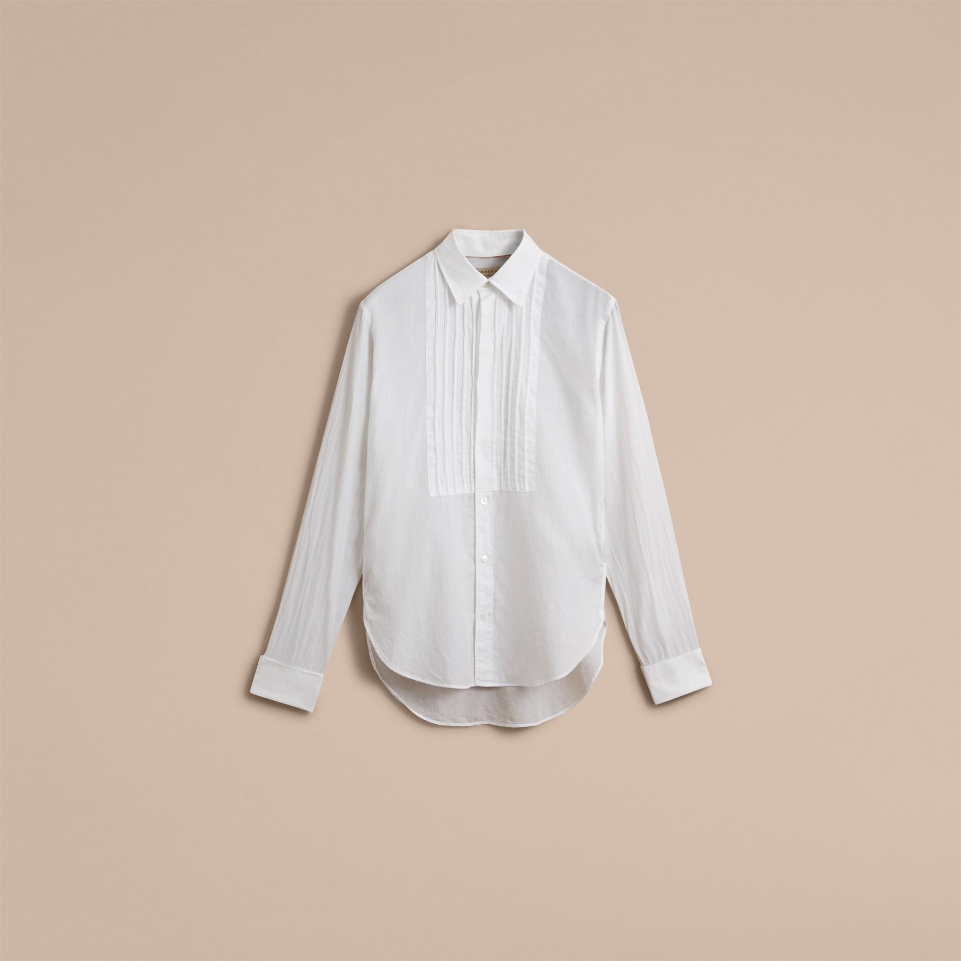 Unisex Double-cuff Pintuck Bib Cotton Shirt White - gallery image 4