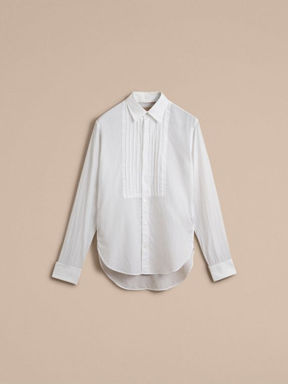 Unisex Double-cuff Pintuck Bib Cotton Shirt White - cell image 3