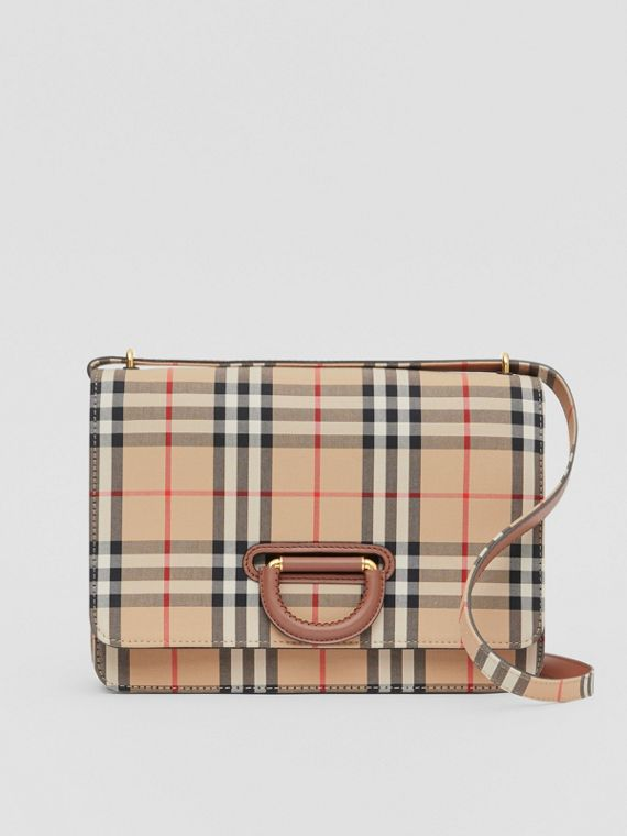 Bolso D-ring mediano a cuadros Vintage Checks (Beige)
