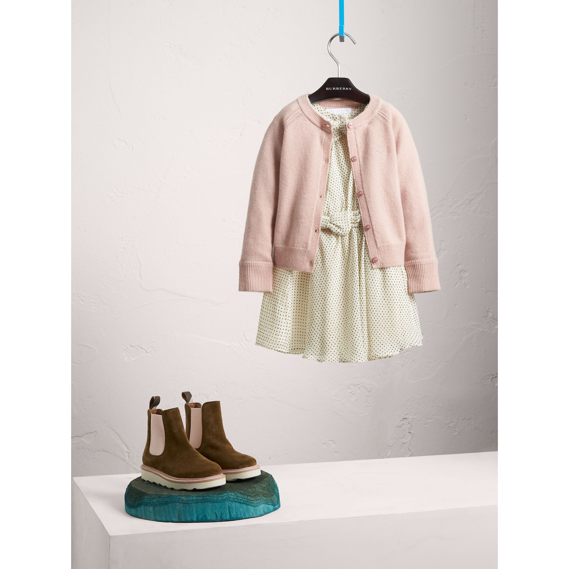Check Cuff Cashmere Cardigan in Dusty Pink - Girl | Burberry - gallery image 1