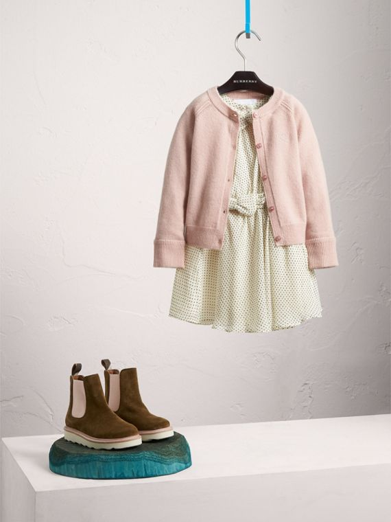 Check Cuff Cashmere Cardigan in Dusty Pink - Girl   Burberry
