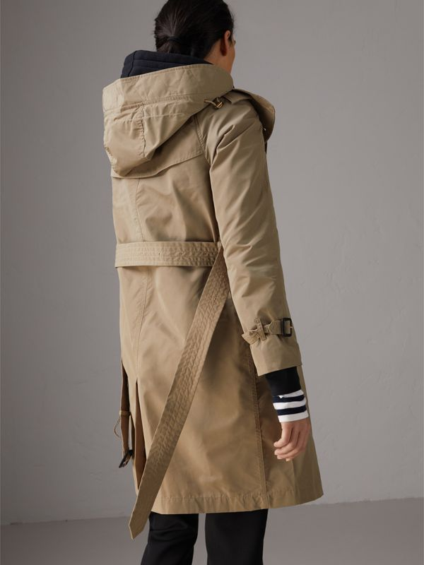 Detachable Hood Taffeta Trench Coat in Sisal - Women | Burberry - cell image 2