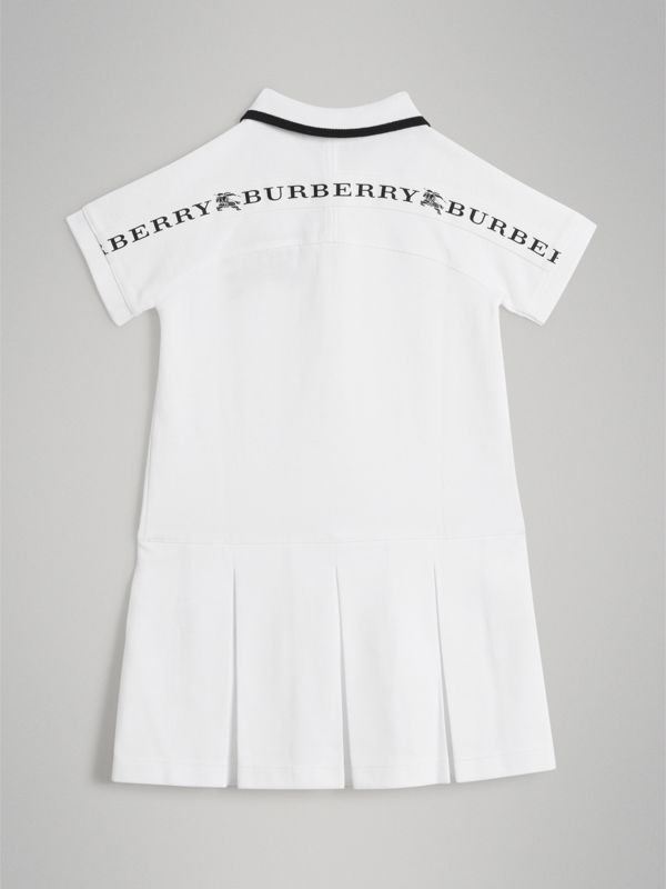 Tape Detail Polo Dress in White - Girl | Burberry - cell image 3