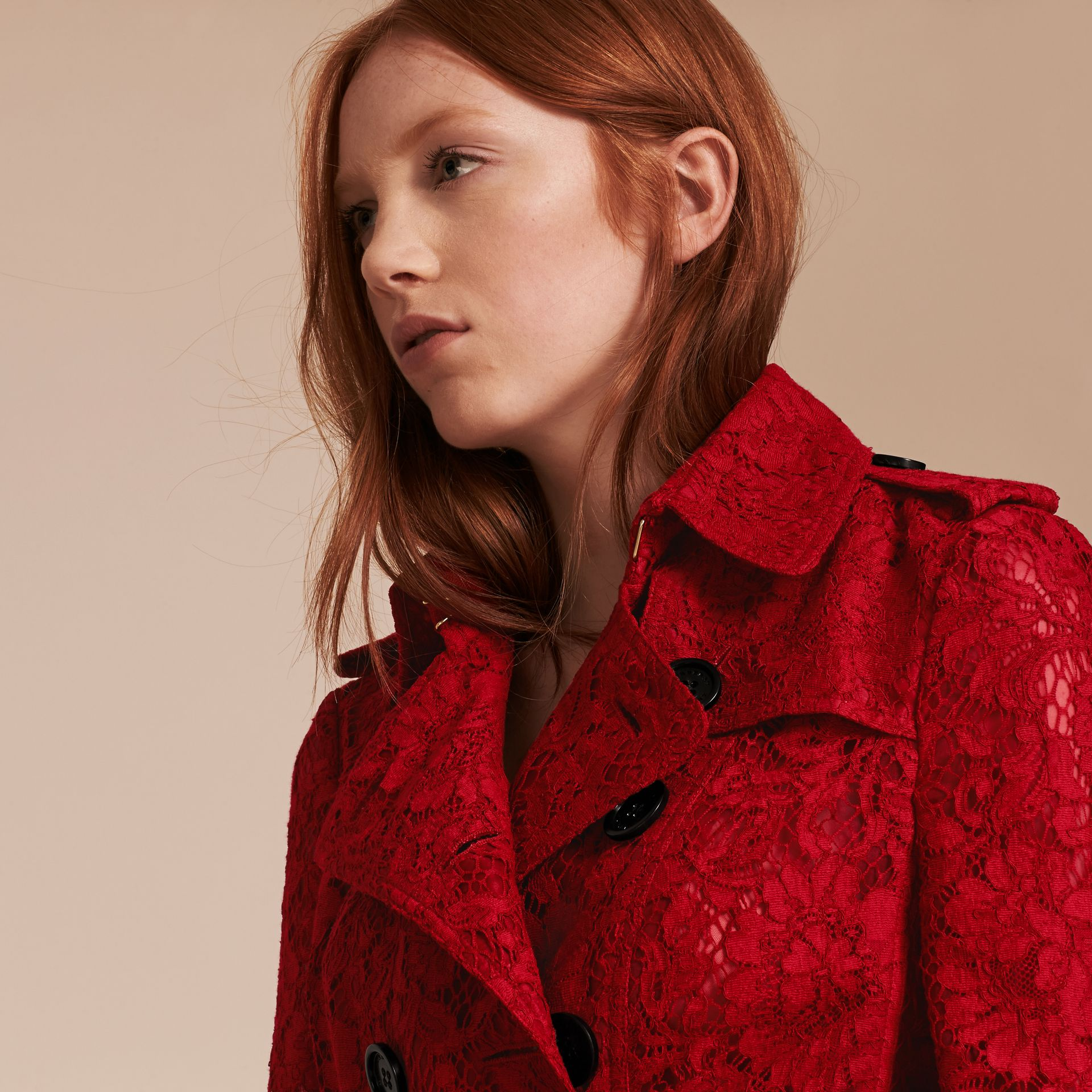 Parade red Lace Trench Coat - gallery image 5