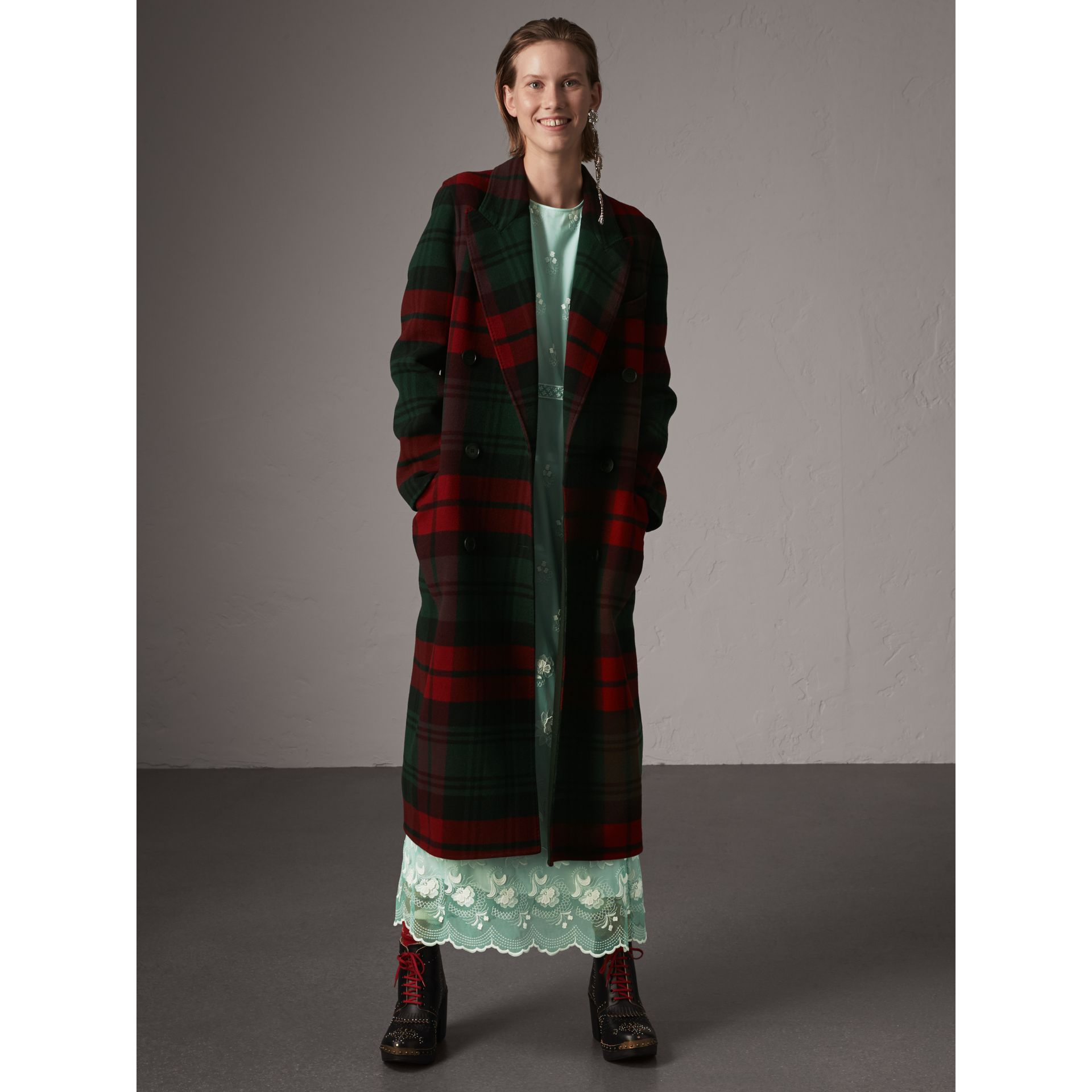 Tartan Wool Double-breasted Coat in Racing Green/dark Crimson - Women | Burberry - gallery image 5