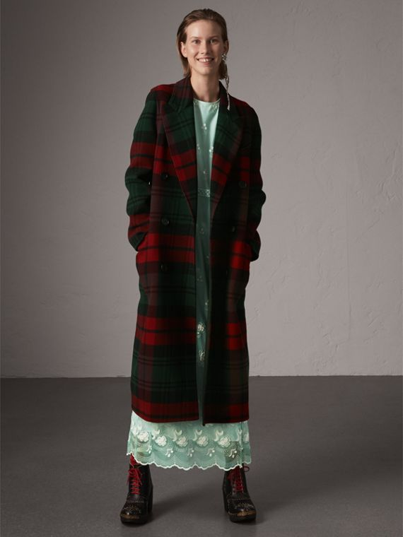 Tartan Wool Double-breasted Coat in Racing Green/dark Crimson
