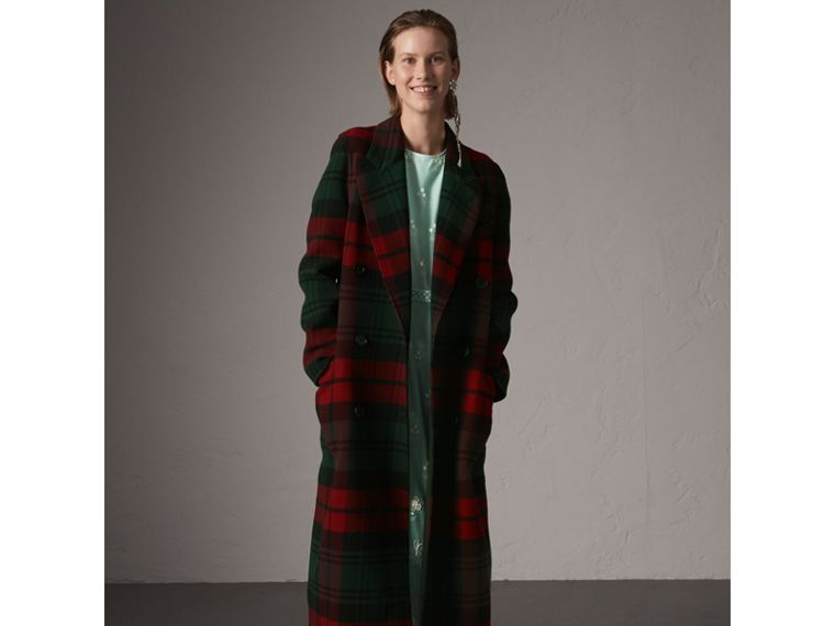 Tartan Wool Double-breasted Coat in Racing Green/dark Crimson - Women | Burberry - cell image 4