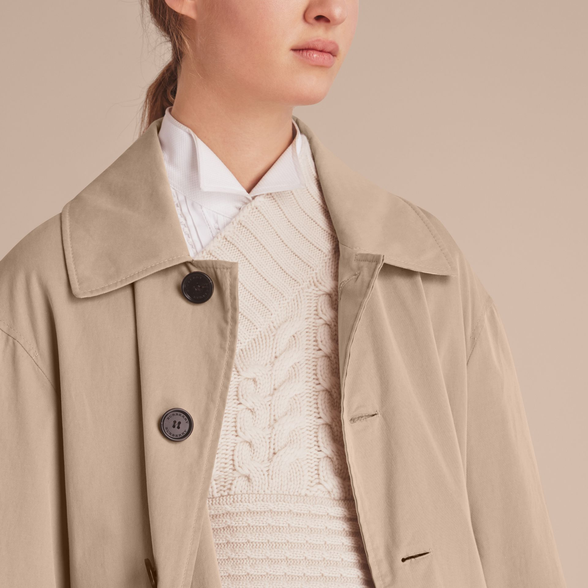 Unisex Tropical Gabardine Car Coat with Exaggerated Cuffs in Light Taupe - Women | Burberry - gallery image 7