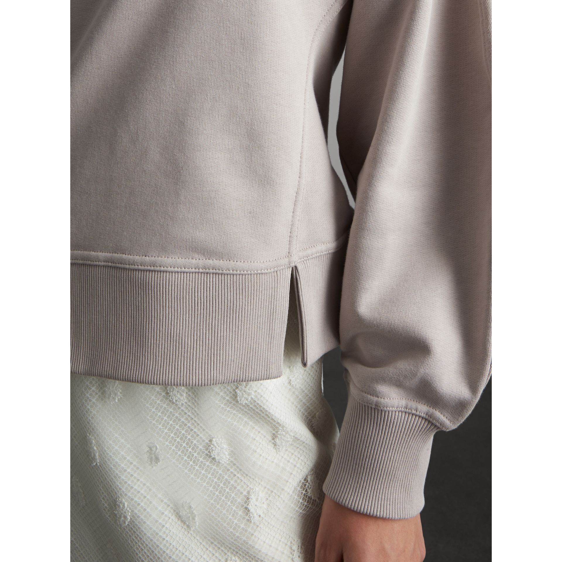 Puffed-sleeve Cotton Panelled Sweatshirt in Pale Mauve - Women | Burberry - gallery image 4