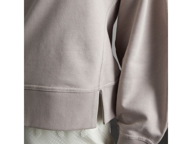 Puffed-sleeve Cotton Panelled Sweatshirt in Pale Mauve - Women | Burberry - cell image 4