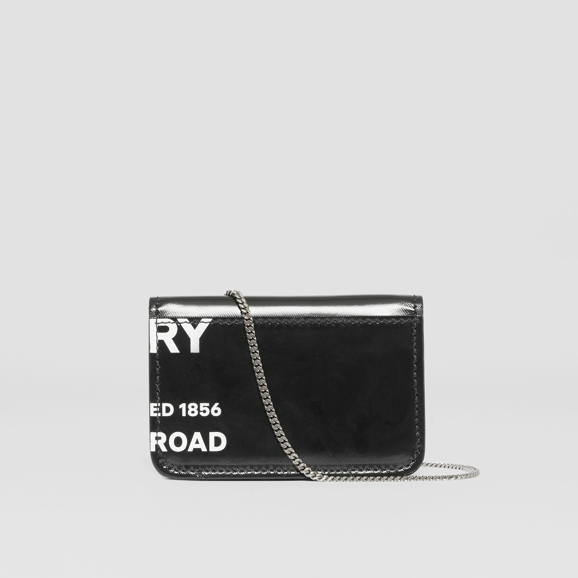 Horseferry Print Card Case with Chain Strap in Black - Women | Burberry - gallery image 7