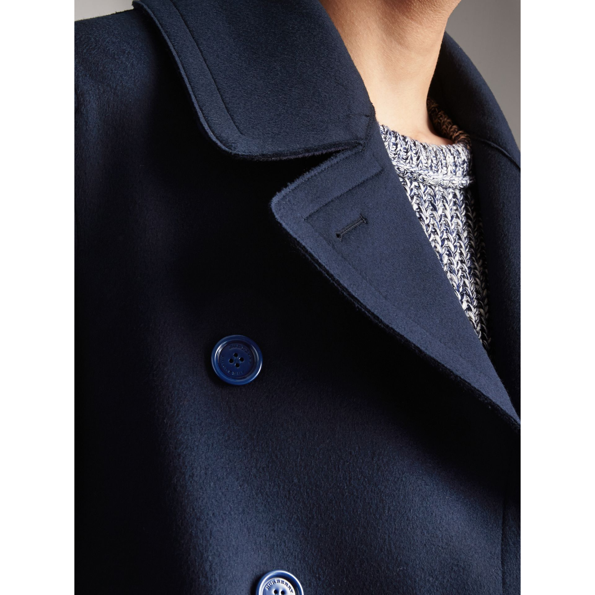Resin Button Wool Pea Coat in Military Navy - Men | Burberry - gallery image 2