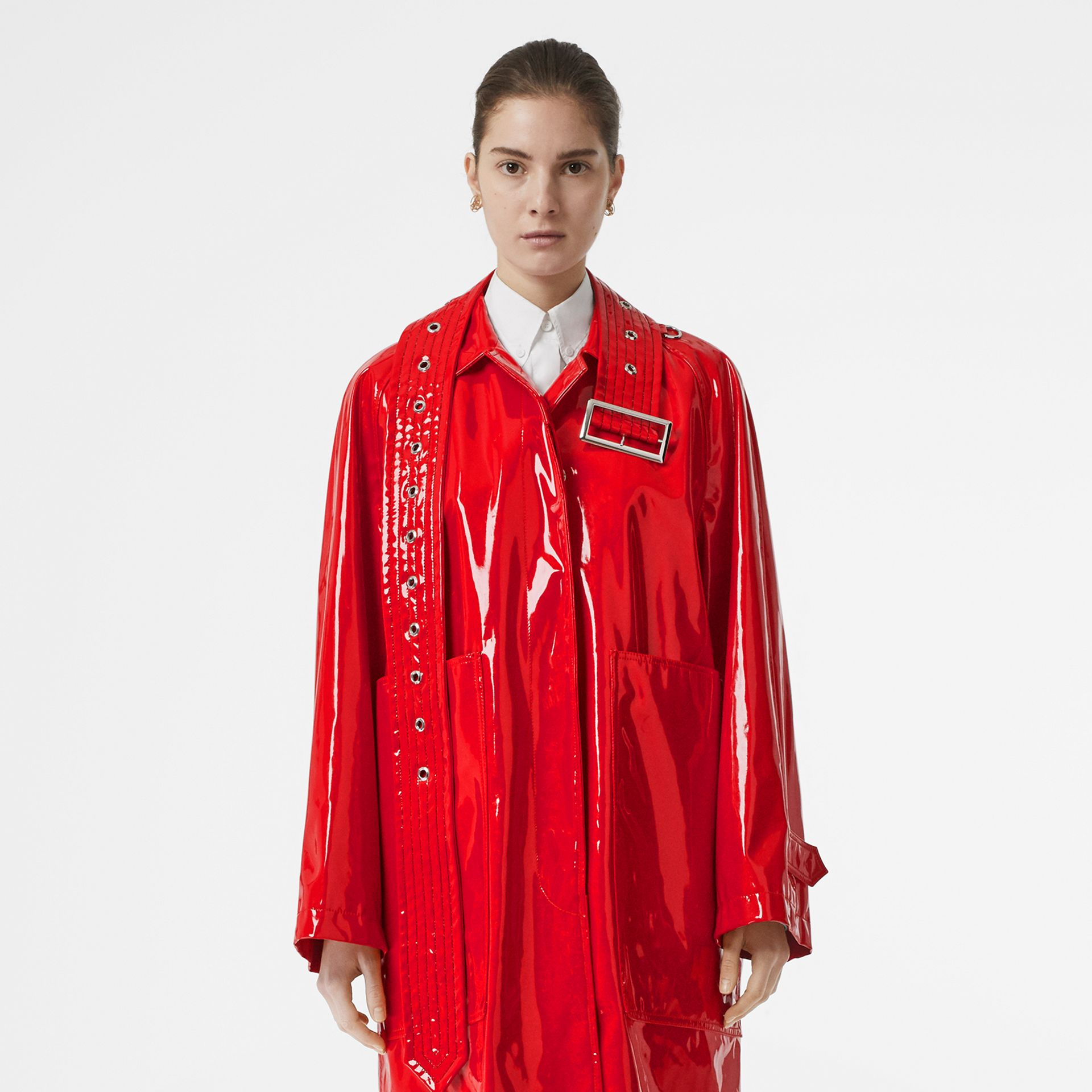 Belt Detail Laminated Car Coat in Bright Red - Women | Burberry - gallery image 6