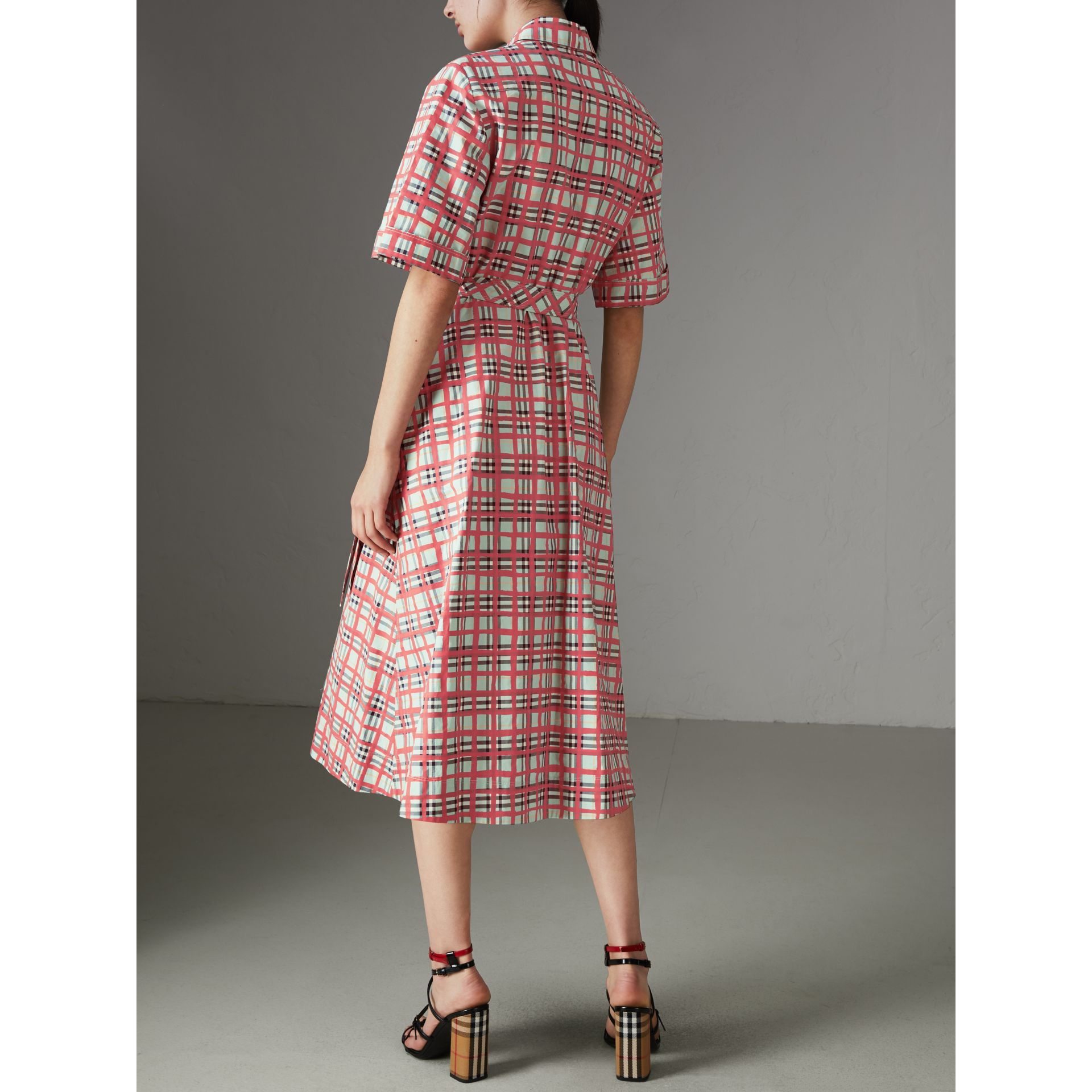 Painted Check Cotton Shirt Dress in Bright Aqua - Women | Burberry - gallery image 2