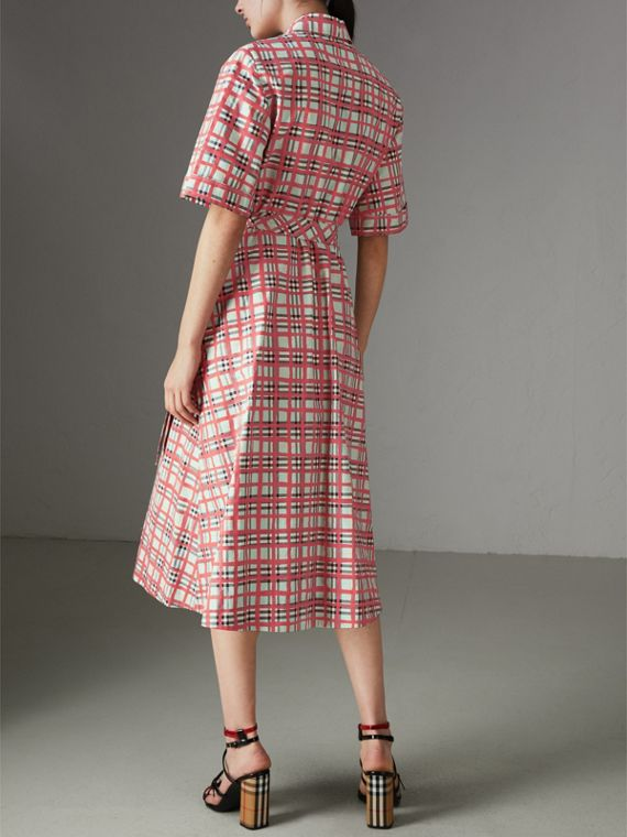 Painted Check Cotton Shirt Dress in Bright Aqua - Women | Burberry Australia - cell image 2