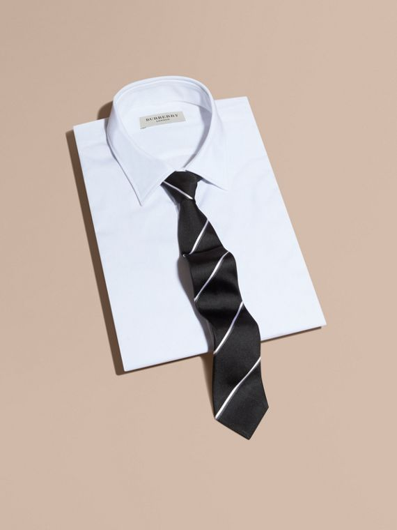 Slim Fit Striped Silk Tie Black - cell image 3
