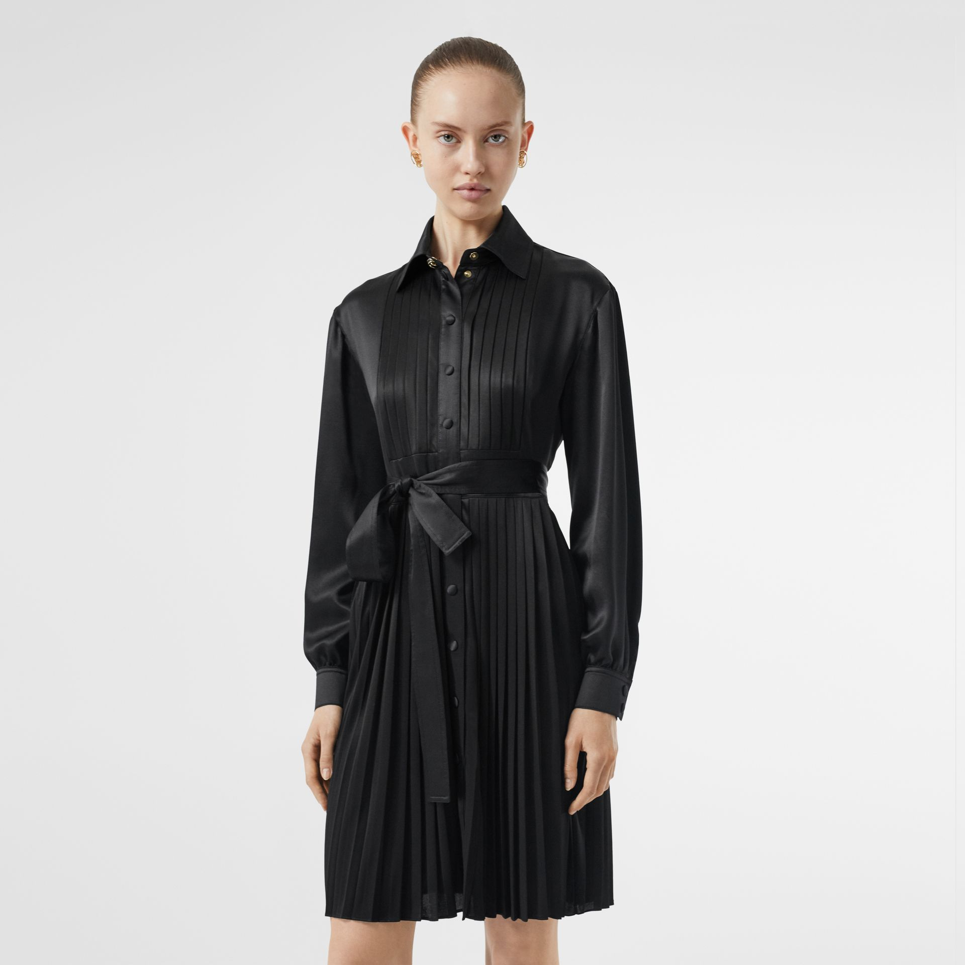 Pleated Silk Satin and Jersey Tie-waist Shirt Dress in Black - Women | Burberry - gallery image 5