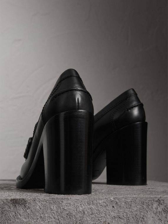 Eyelet Detail Leather Heeled Loafers in Black - Women | Burberry United States - cell image 3