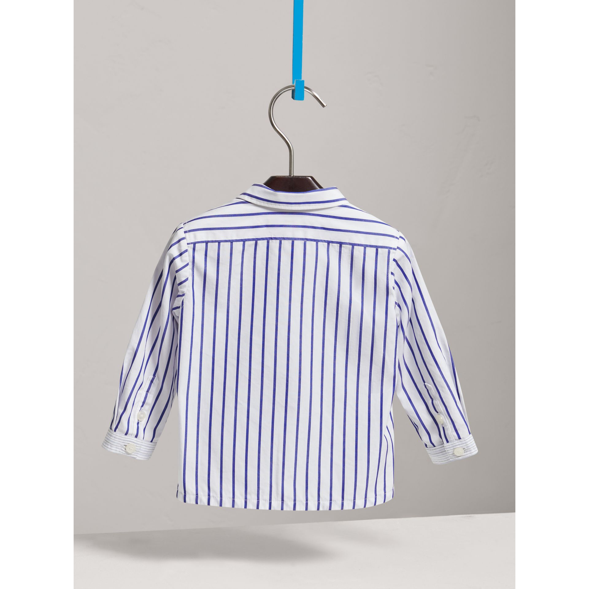 Contrast Stripe Button-down Collar Cotton Shirt in Light Blue | Burberry United Kingdom - gallery image 3