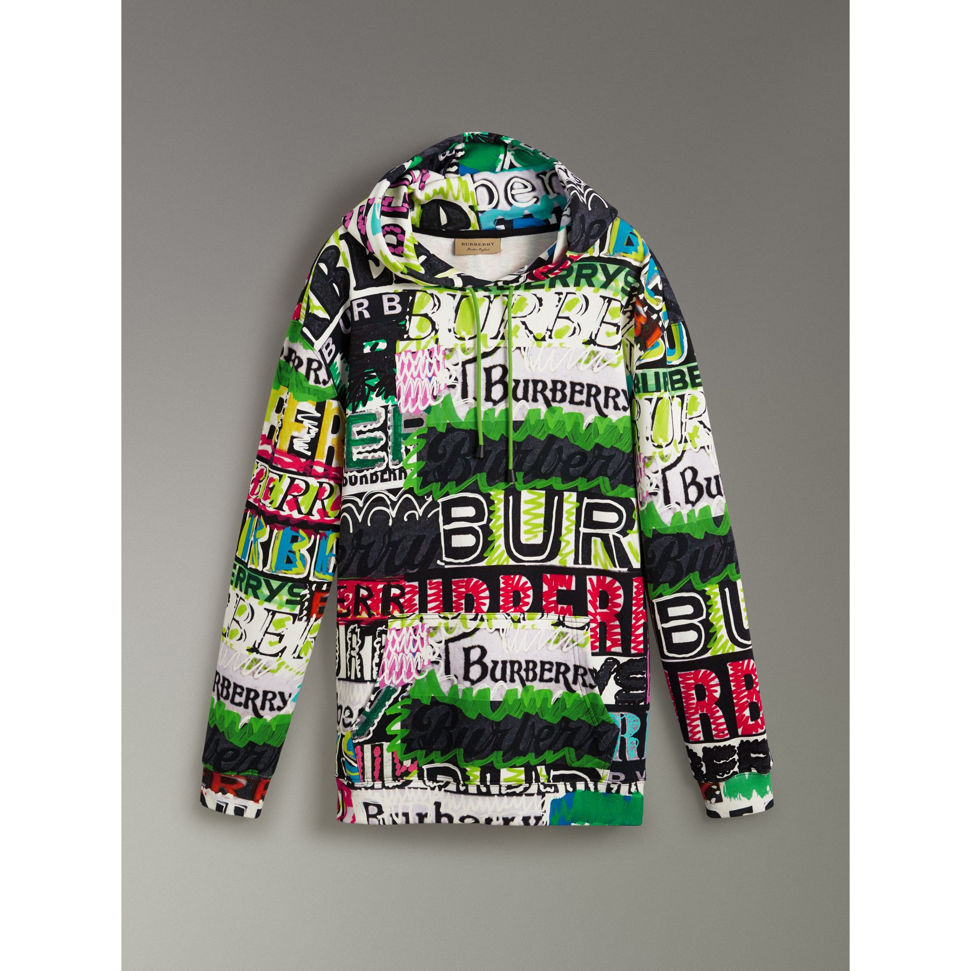 Oversized Logo Print Cotton Hoodie in Bright Green - Men | Burberry Australia - gallery image 3