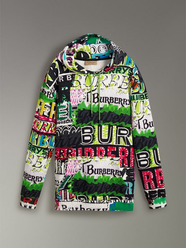 Oversized Logo Print Cotton Hoodie in Bright Green - Men | Burberry - cell image 3
