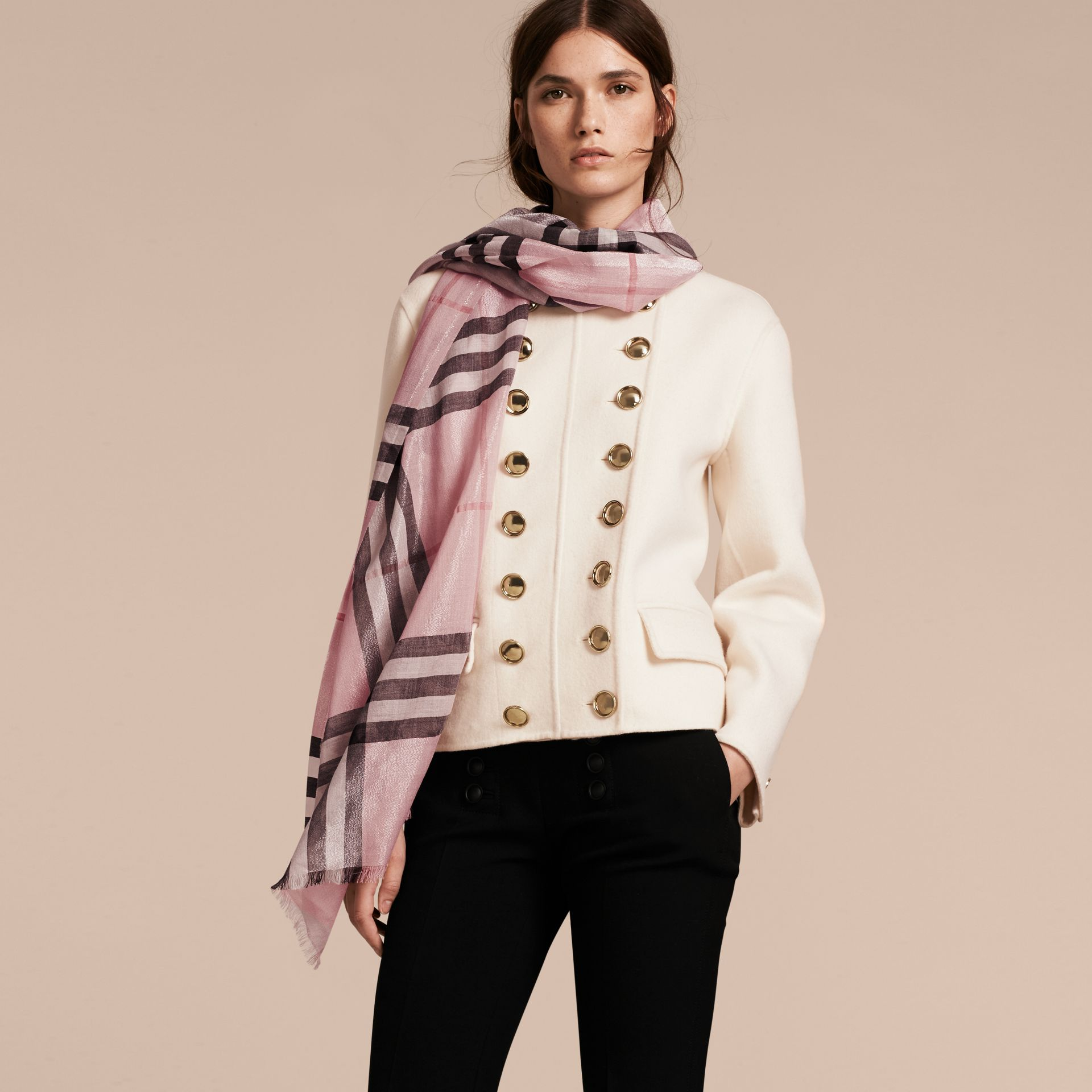 Metallic Check Silk and Wool Scarf in Ash Rose/silver - Women | Burberry - gallery image 3