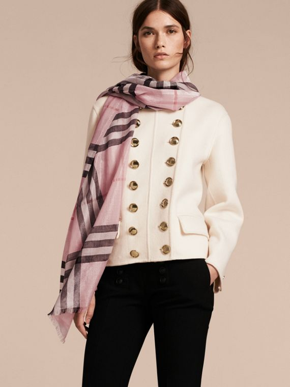 Metallic Check Silk and Wool Scarf in Ash Rose/silver - Women | Burberry - cell image 2