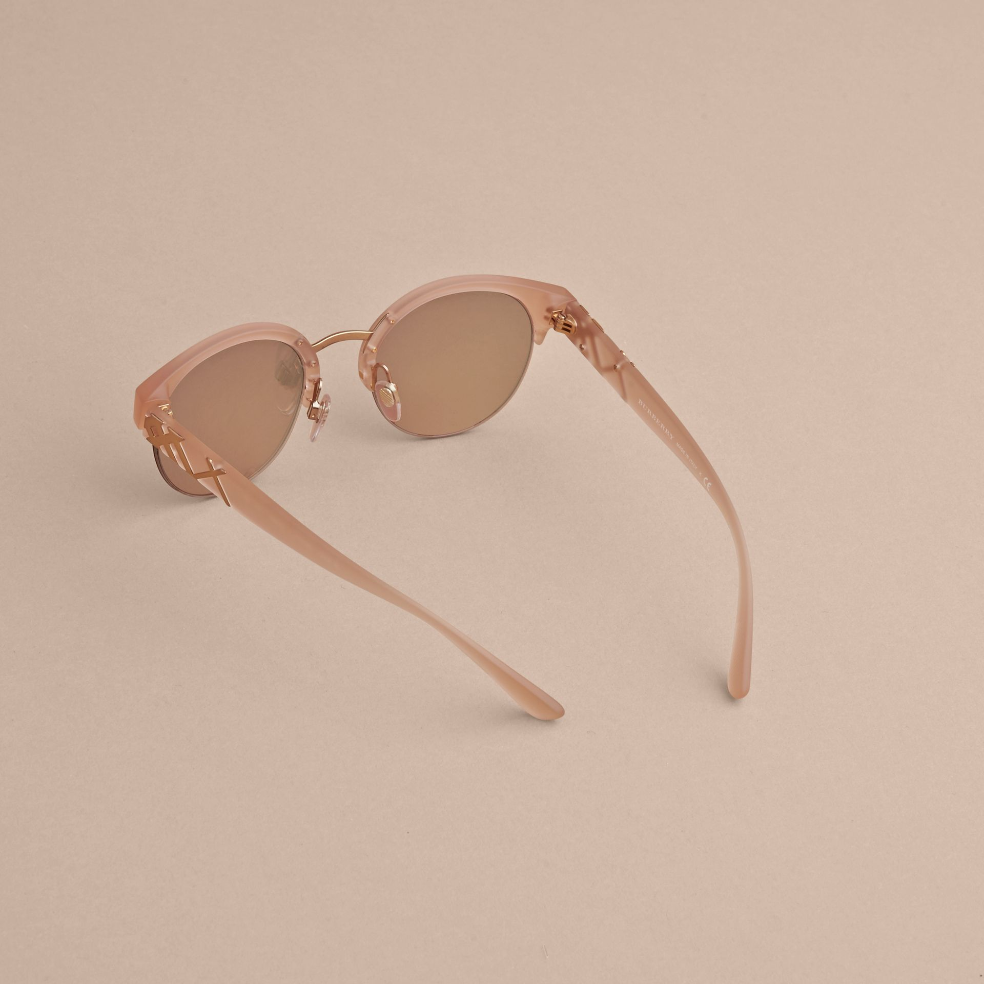 Check Detail Round Half-frame Sunglasses in Nude - Women | Burberry Singapore - gallery image 4
