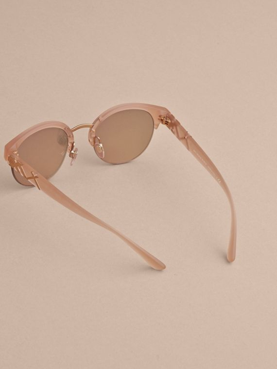 Check Detail Round Half-frame Sunglasses in Nude - Women | Burberry Canada - cell image 3