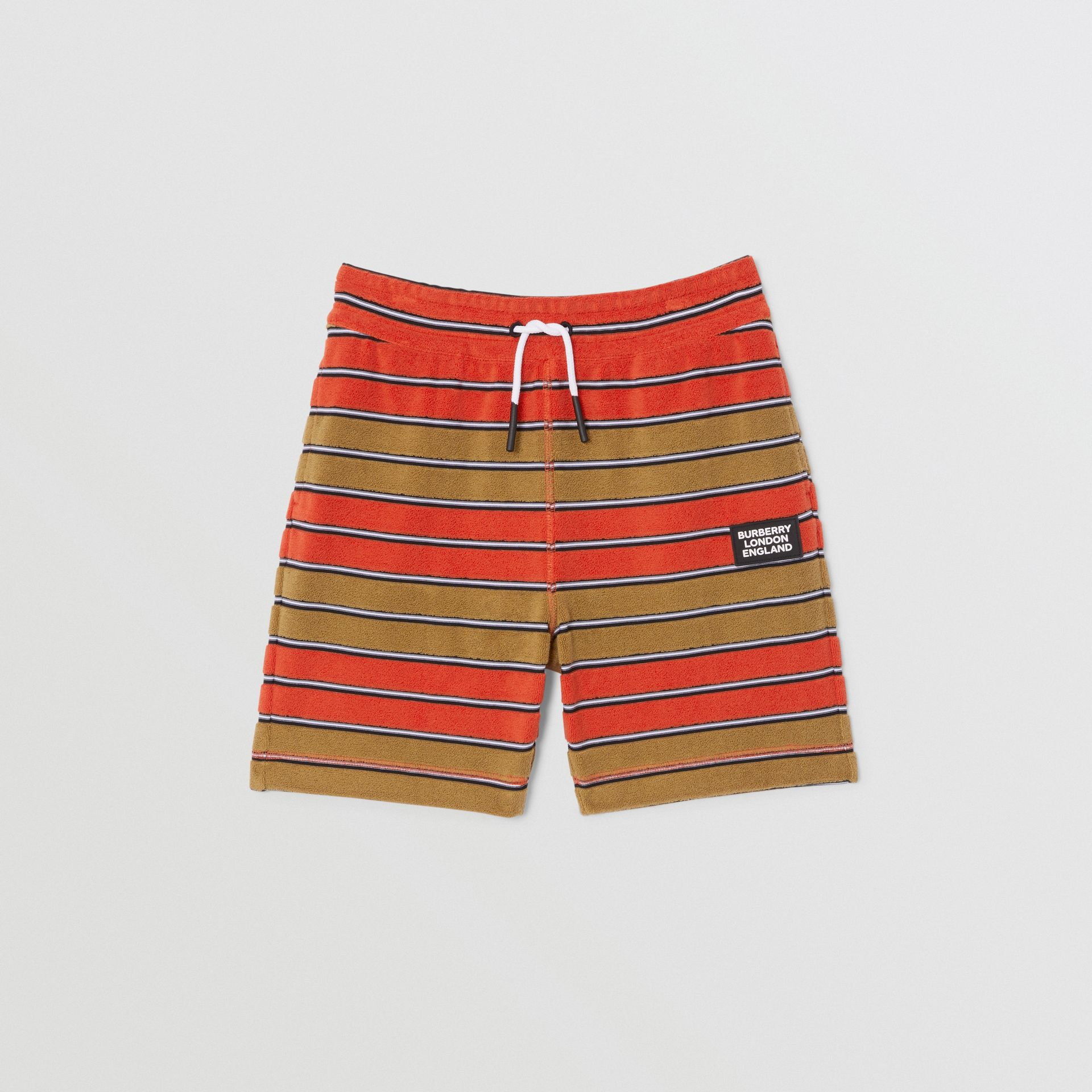 Logo Appliqué Striped Towelling Shorts in Vermilion Red | Burberry - gallery image 0