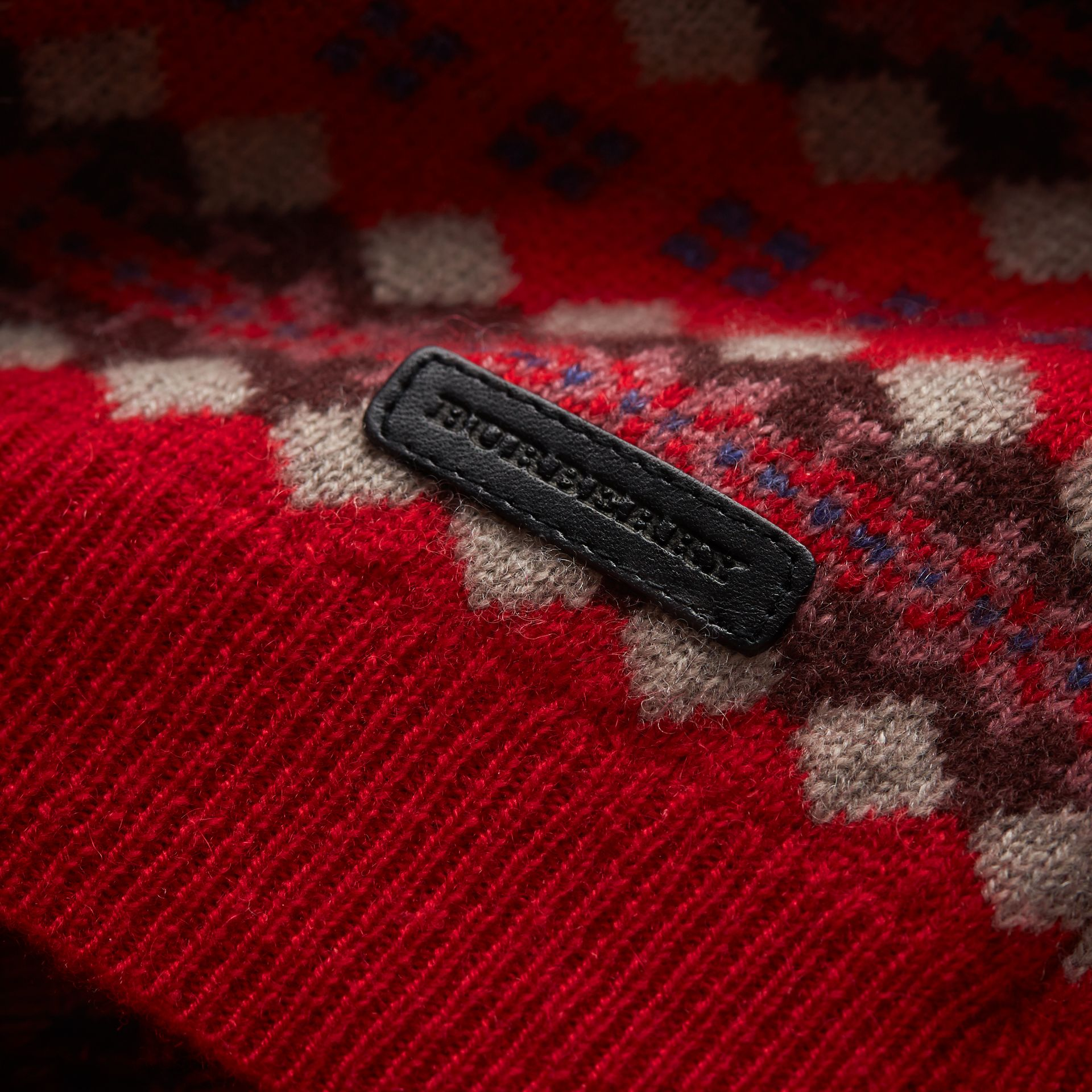 Colour Block Fair Isle Wool Cashmere Sweater in Rosewood - Boy | Burberry - gallery image 2