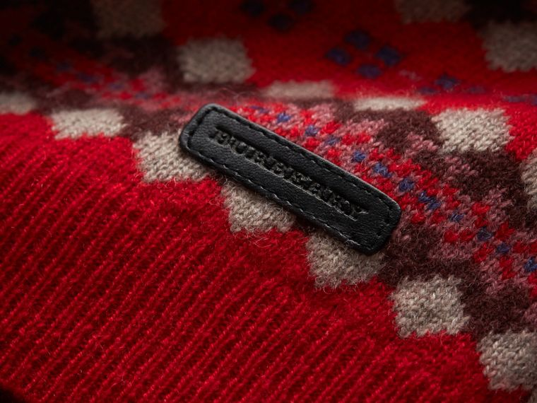 Colour Block Fair Isle Wool Cashmere Sweater in Rosewood - Boy | Burberry United Kingdom - cell image 1