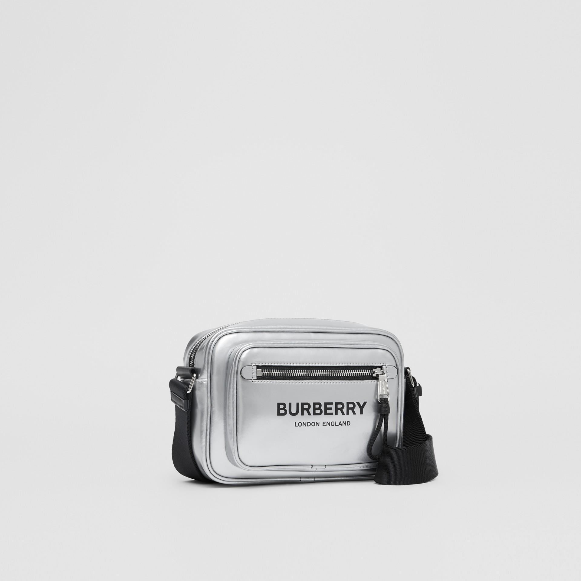 Metallic Coated Canvas Crossbody Bag in Silver - Men | Burberry - gallery image 4
